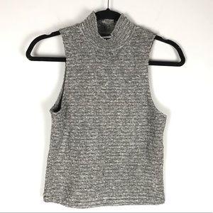 K/Lab sleeveless turtleneck sweater grey rib knit